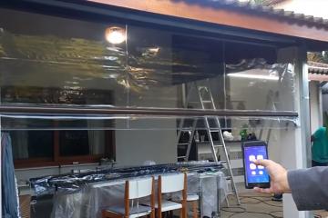 toldo cortina com acionamento por celular